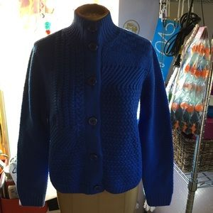 St John Cable knit Sweater Blue Cardigan